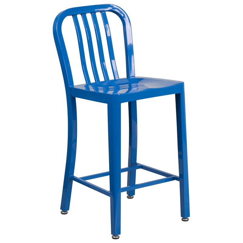 Stamford Blue Modern Metal Counter Stool