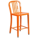 Stamford Orange Modern Metal Counter Stool
