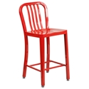 Stamford Red Modern Metal Counter Stool