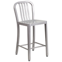 Stamford Silver Modern Metal Counter Stool