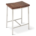 Gus* Modern Stanley Walnut Wood Top + Brushed Stainless Steel Base Counter Height Stool