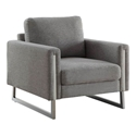 Stefan Modern Gray + Stainless Steel Chair
