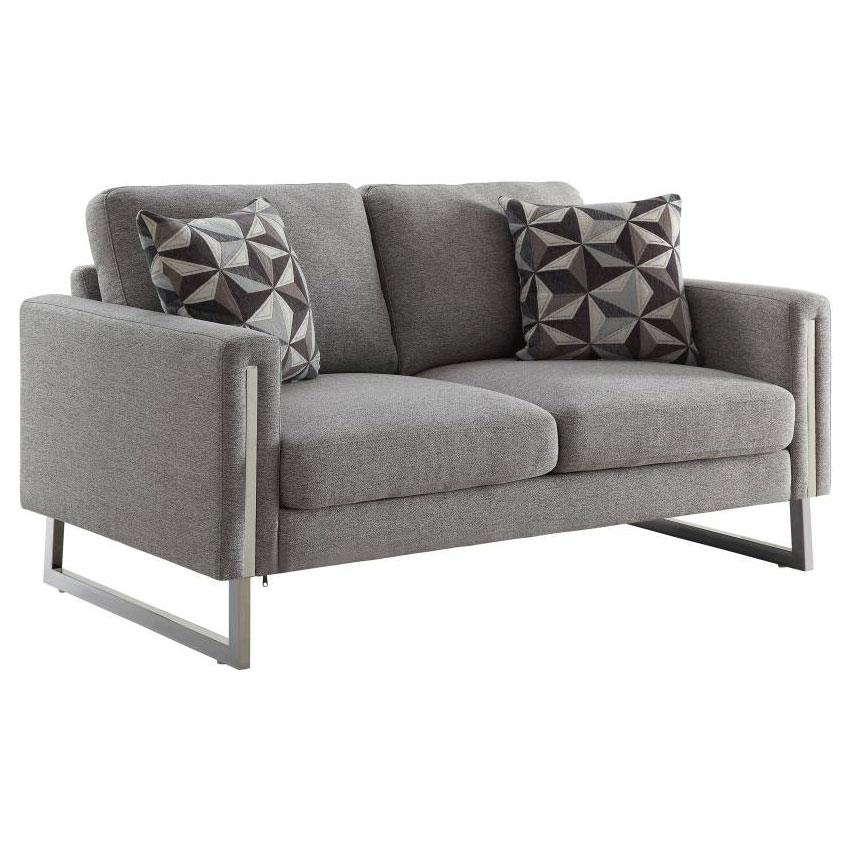Stefan Modern Gray + Stainless Steel Loveseat
