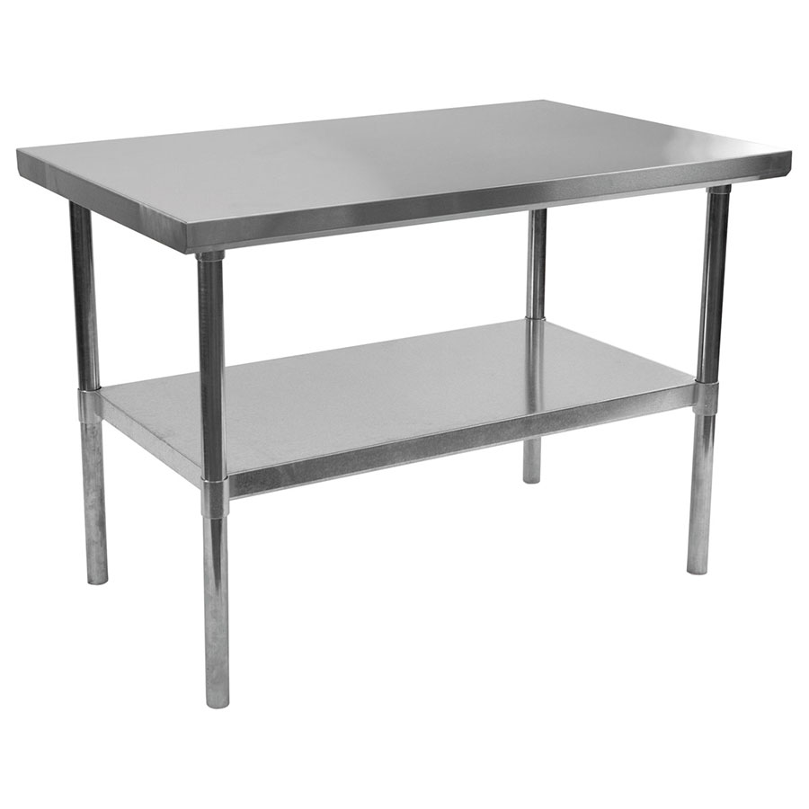 stelios steel prep table 48 kitchen prep tables Stelios 48 Steel Modern Counter Height Kitchen Prep Table