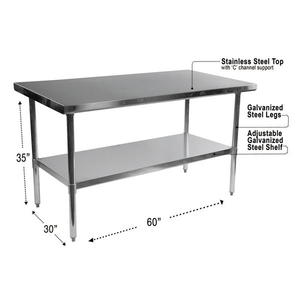 Stelios 60 Steel Modern Counter Height Kitchen Prep Table Dimensions