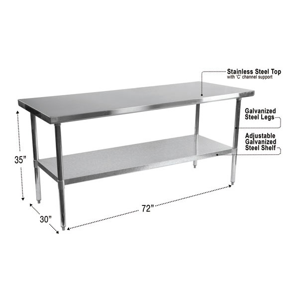 stelios 72 stainless steel modern counter height kitchen prep table dimensions. beautiful ideas. Home Design Ideas