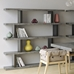 Step High Black + Faux Concrete Modern Staggered Bookcase
