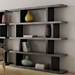 Step High Modern Black + Faux Concrete Staggered Bookcase