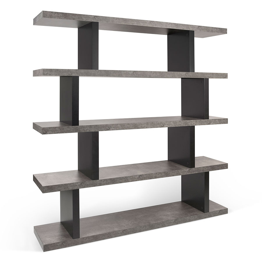 Step High Modern Black + Faux Concrete Bookcase