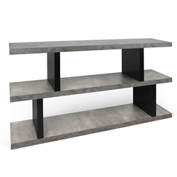 Step Faux Concrete + Black Low Modern Bookcase