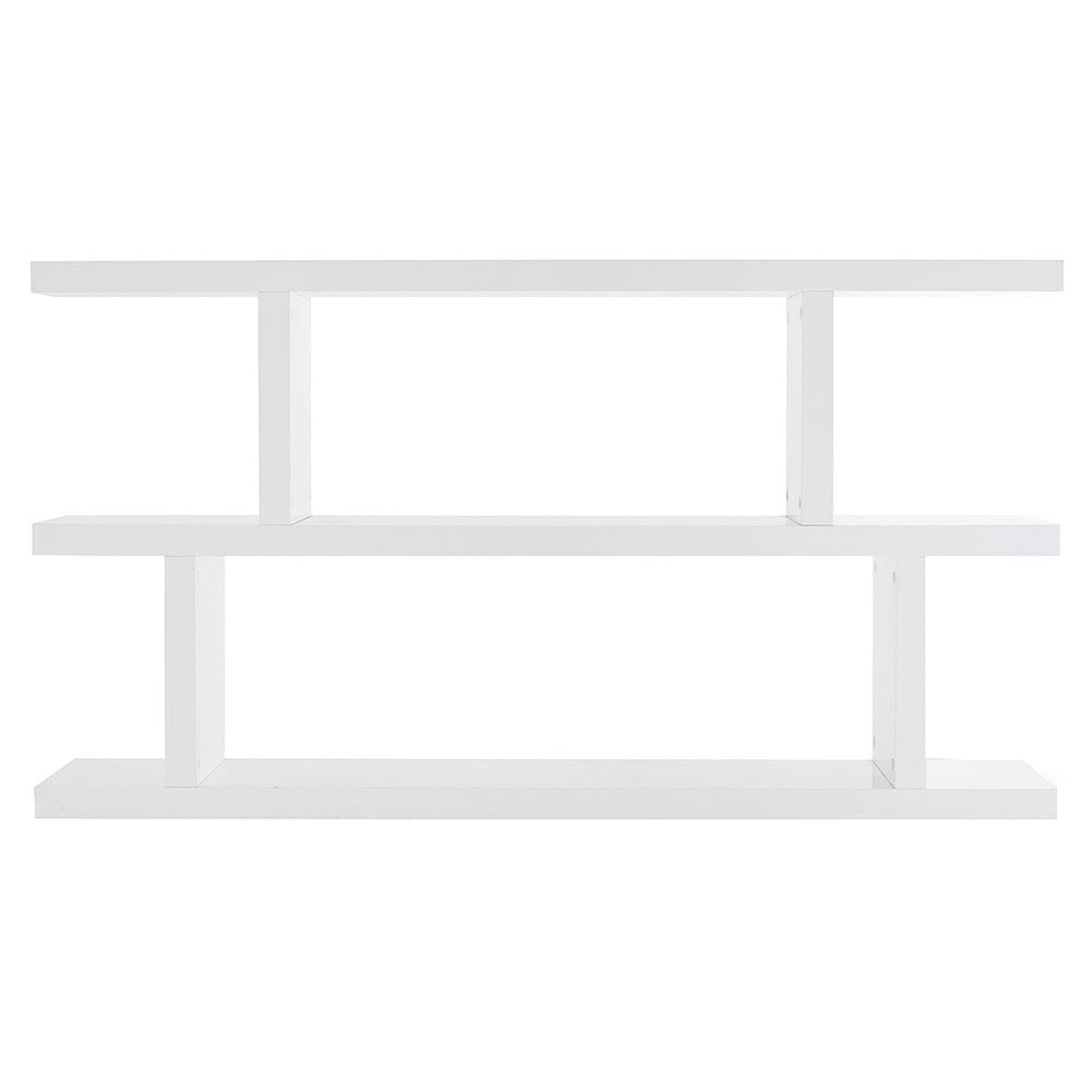 Step Low Bookcase In Pure White Contemporary