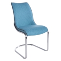 Summer Blue Leatherette + Brushed Steel Modern Dining Chair
