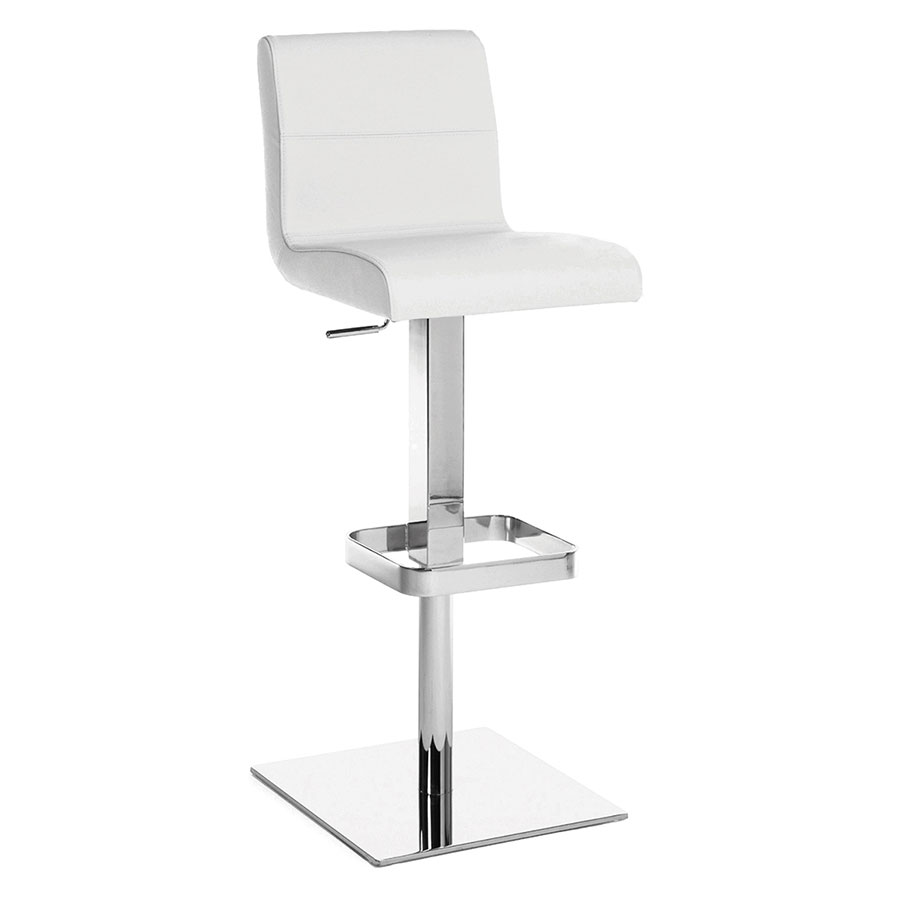 Strand White Genuine Italian Leather + Chrome Modern Adjustable Height Stool