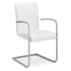 Strand White Genuine Italian Leather + Chrome Modern Dining Arm Chair