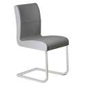 Strand Gray Genuine Italian Leather + Chrome Modern Dining Side Chair