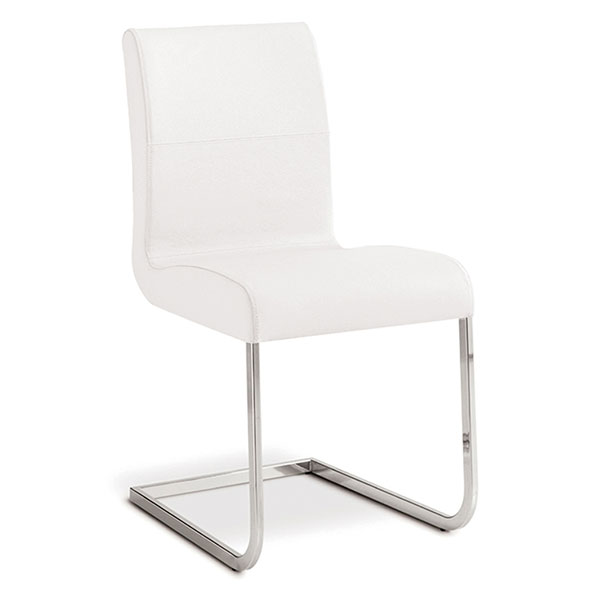 Strand White Genuine Italian Leather + Chrome Modern Dining Side Chair