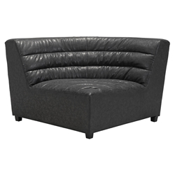 Strauss Black Antiqued Leatherette Stitch Tufted Upholstery Modern Corner Chair Sectional Unit