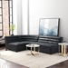 Strauss Black Antiqued Leatherette Stitch Tufted Upholstery Contemporary Sectional