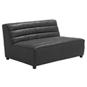 Strauss Black Antiqued Leatherette Modern Loveseat