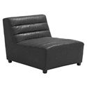 Strauss Black Antiqued Leatherette Stitch Tufted Upholstery Modern Armless Chair
