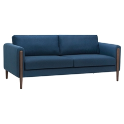 Strom Lagoon Blue Fabric + Walnut Wood Modern Sofa