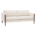 Strom Sand Beige / Tan Fabric + Walnut Wood Modern Sofa