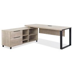 Stavanger Modern Desk + Left Storage in Natural