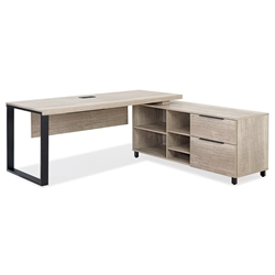 Stavanger Modern Desk + Right Storage in Natural