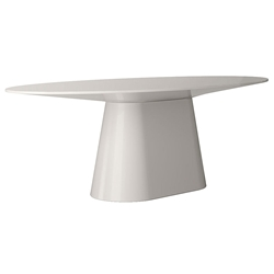 Modloft Sullivan Glossy Chateau Gray Oval Modern Dining Table