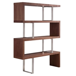 Summation Walnut + Metal Modern Bookcase