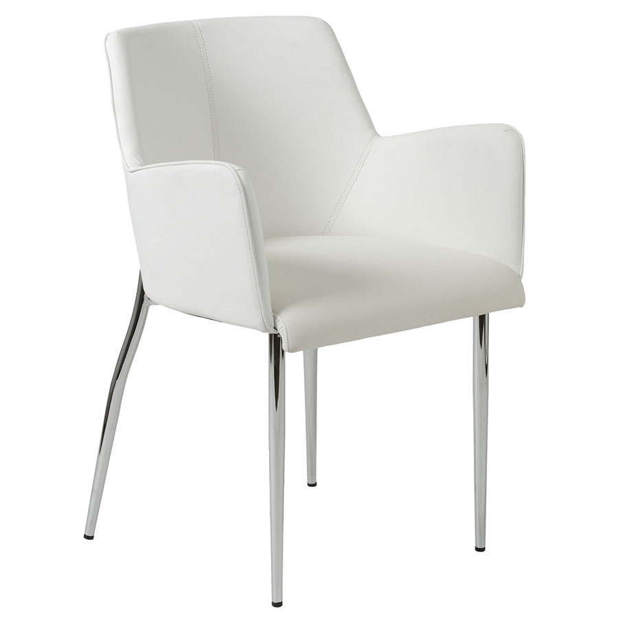 Sunny Modern White Arm Chair by Euro Style