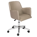Summit Professional Grade Taupe Leatherette + Chromed Steel Modern Office Chair