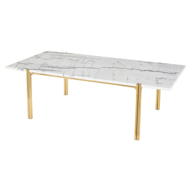 Sussur White Marble + Polished Gold Stainless Steel Modern Coffee Table