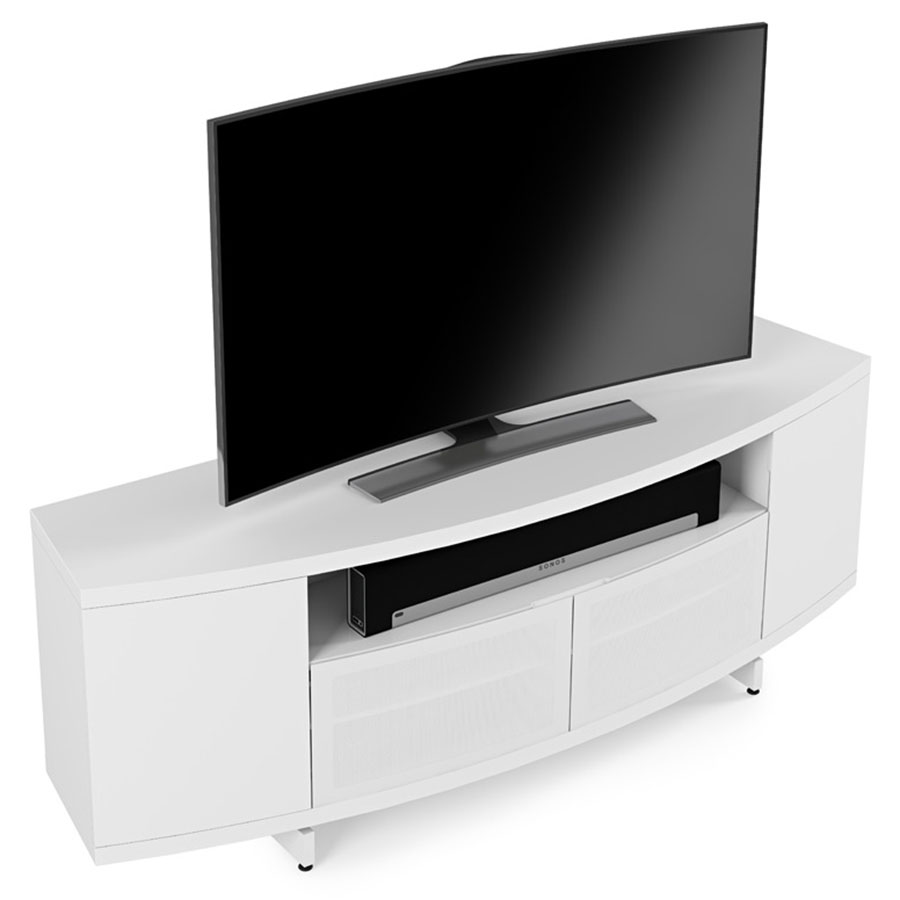 modern av stands  bdi sweep white modern tv stand  eurway -  bdi sweep white curved contemporary tv stand