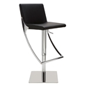 Swing Black Naugahyde + Chromed Steel Modern Adjustable Bar + Counter Stool