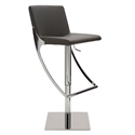 Swing Gray Naugahyde + Polished Steel Modern Adjustable Bar + Counter Stool