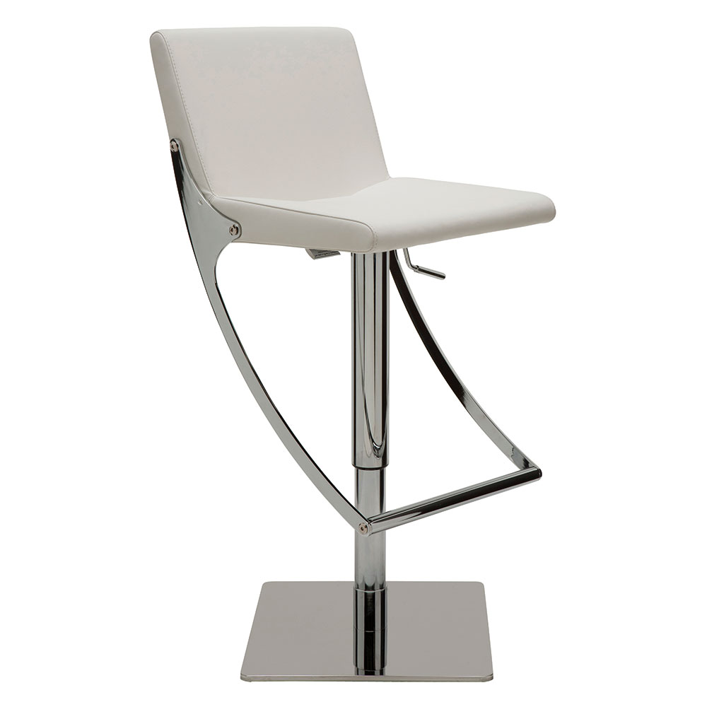 Swing White Naugahyde + Chromed Steel Modern Adjustable Bar + Counter Stool
