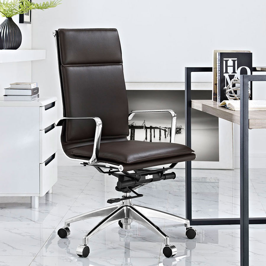 Sydney Brown Contemporary High Back Office Chair