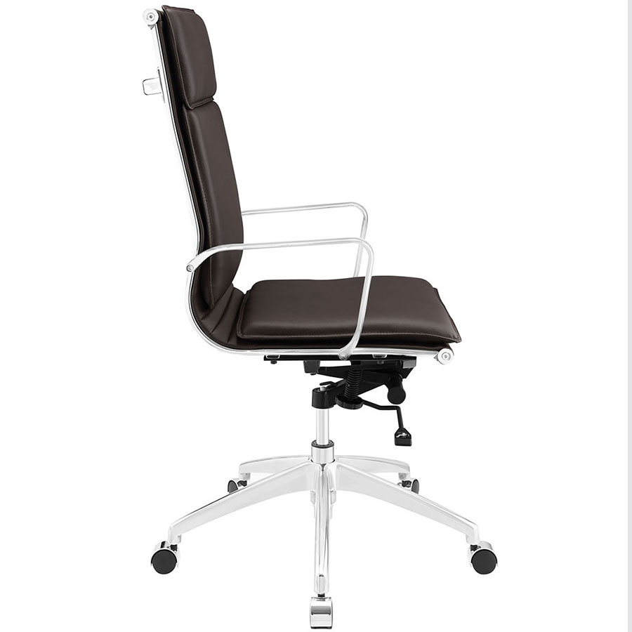 Sydney Brown Modern High Back Office Chair - Side View
