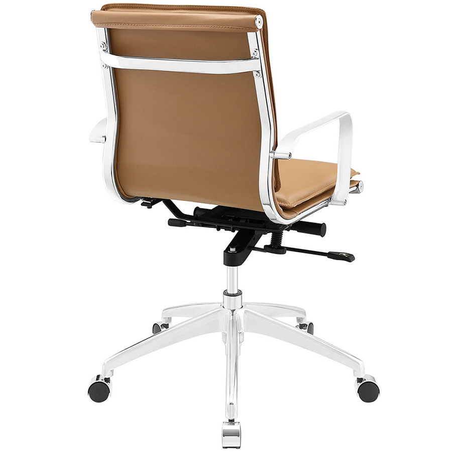 Office chair back view -  Sydney Tan Modern Low Back Office Chair Back View