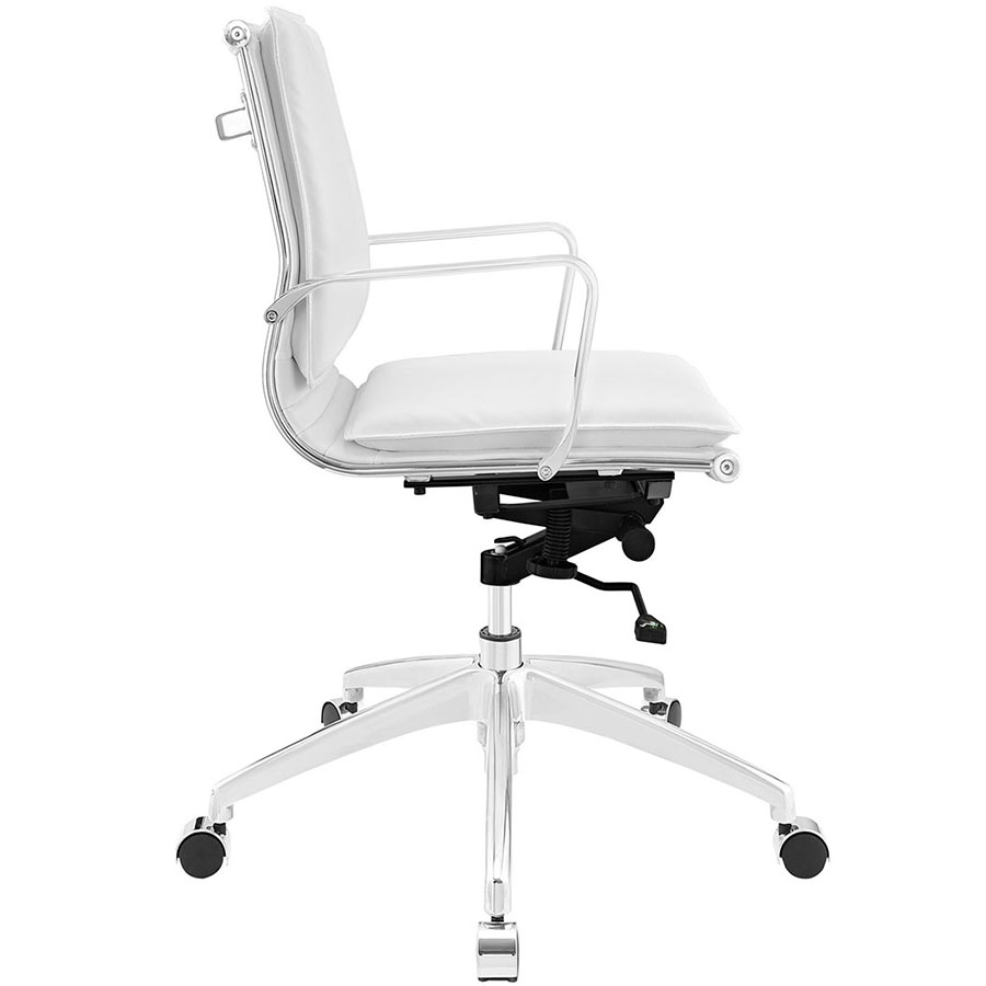 Sydney White Modern Low Back Office Chair - Side View