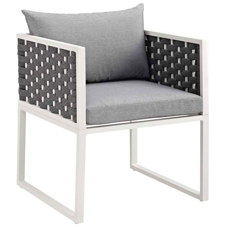 Sylvie Modern Gray + White Outdoor Dining Chair