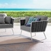 Sylvie Modern Outdoor Gray and White Lounge Chair