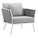 Sylvie Modern Gray + White Outdoor Lounge Chair