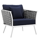 Sylvie Modern Navy + White Outdoor Lounge Chair