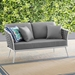 Sylvie Contemporary Outdoor Gray and White Loveseat