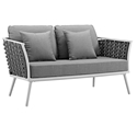 Sylvie Modern Gray + White Outdoor Loveseat