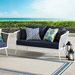 Sylvie Contemporary Outdoor Navy and White Loveseat