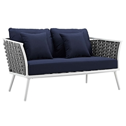 Sylvie Modern Navy + White Outdoor Loveseat