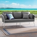 Sylvie Contemporary Outdoor Gray and White Sofa